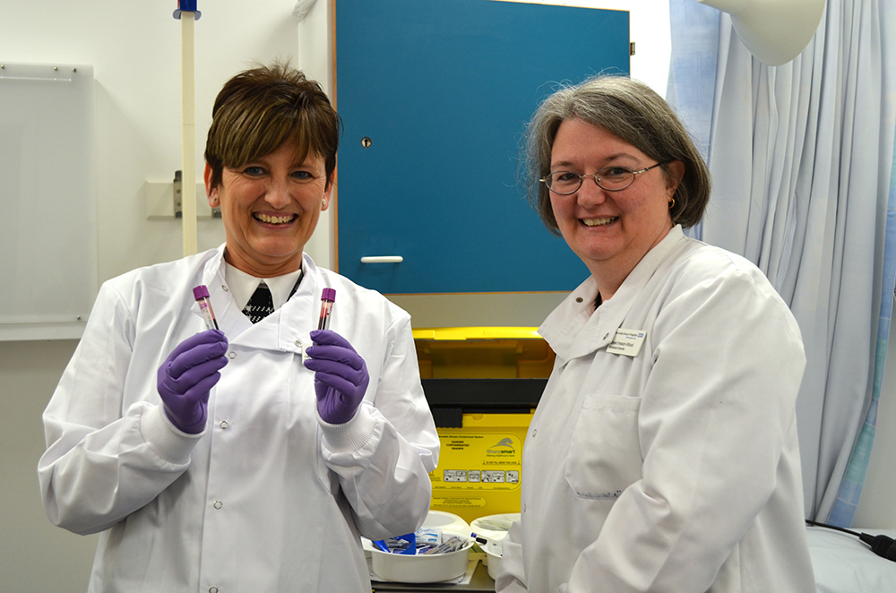 Chief Research Biomedical Scientist Jackie Smith and Research Biomedical Scientist Janet Imeson-Wood celebrate recruiting the Trust's first patients to the project.