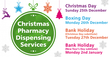 Christmas pharmacy opening times